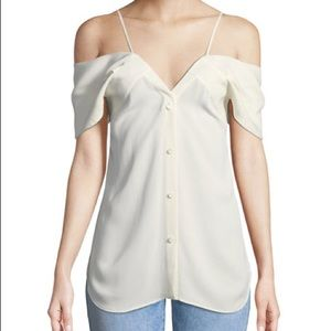 Theory silk off the shoulder tank blouse